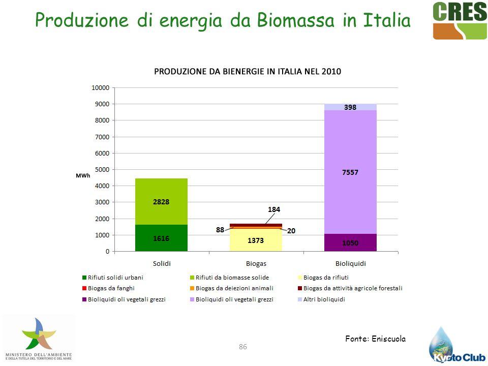 Produzione di energia da Biomassa in Italia