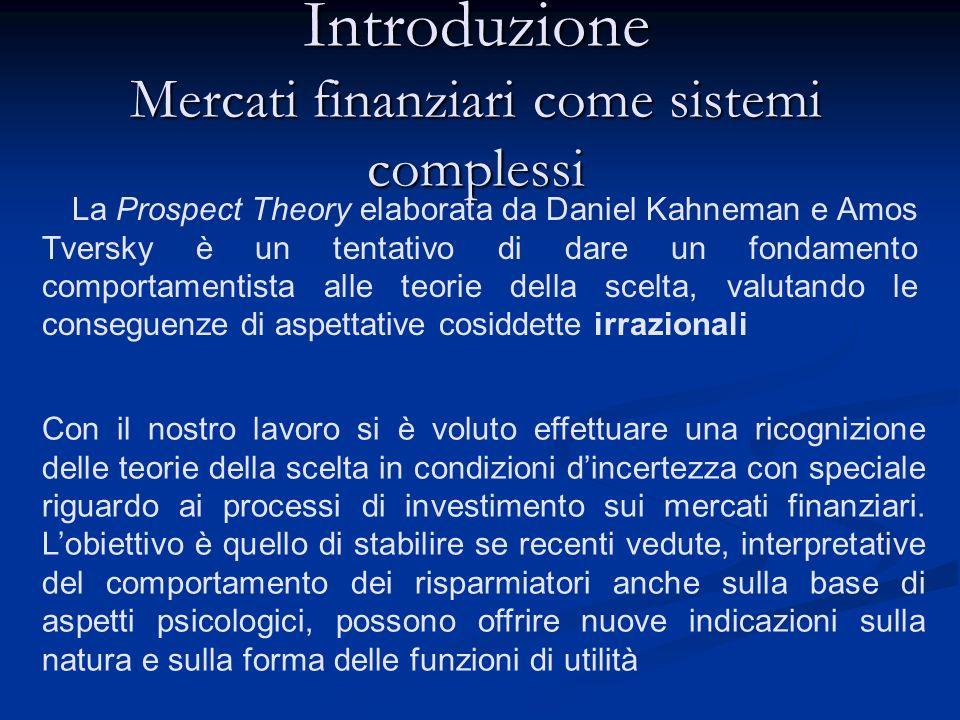 Introduzione Mercati finanziari come sistemi complessi