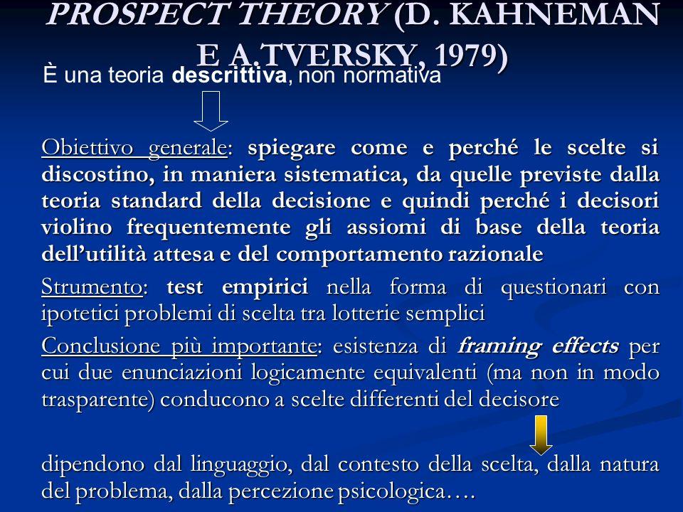 PROSPECT THEORY (D. KAHNEMAN E A.TVERSKY, 1979)