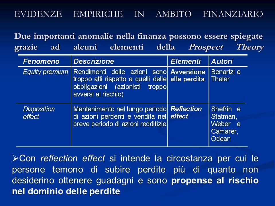 EVIDENZE EMPIRICHE IN AMBITO FINANZIARIO Due importanti anomalie nella finanza possono essere spiegate grazie ad alcuni elementi della Prospect Theory
