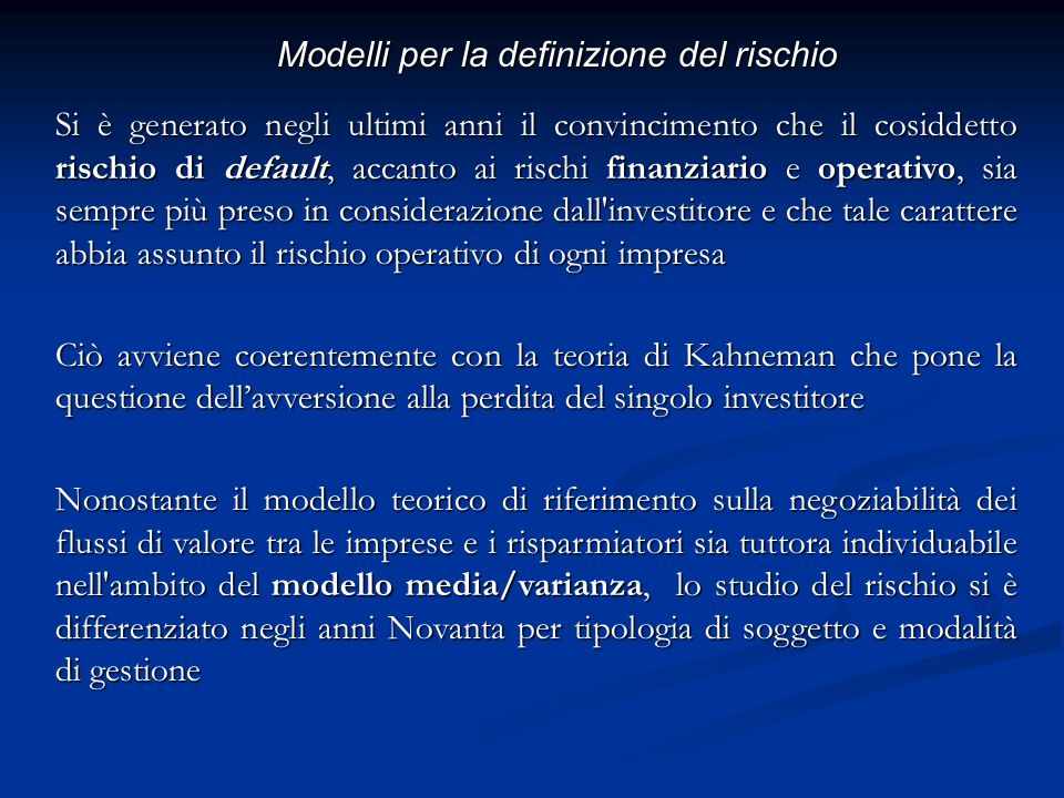 Modelli per la definizione del rischio