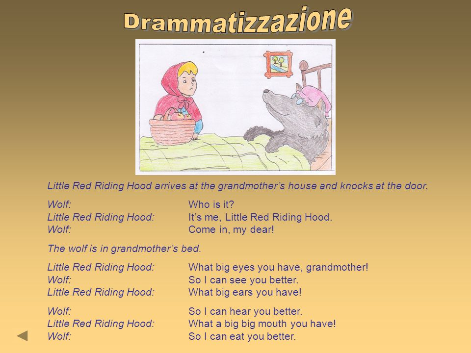 Drammatizzazione Little Red Riding Hood arrives at the grandmother's house and knocks at the door.