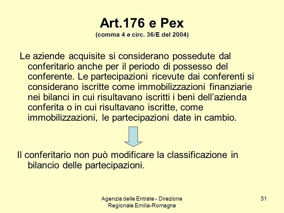 Art.176 e Pex (comma 4 e circ. 36/E del 2004)