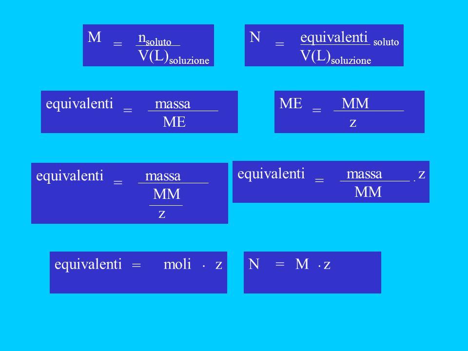 M nsoluto V(L)soluzione. = N equivalenti soluto. V(L)soluzione. = equivalenti massa. ME.