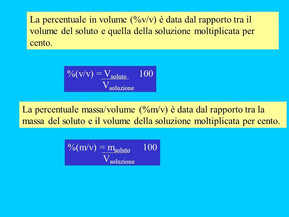 La percentuale in volume (%v/v) è data dal rapporto tra il volume del soluto e quella della soluzione moltiplicata per cento.