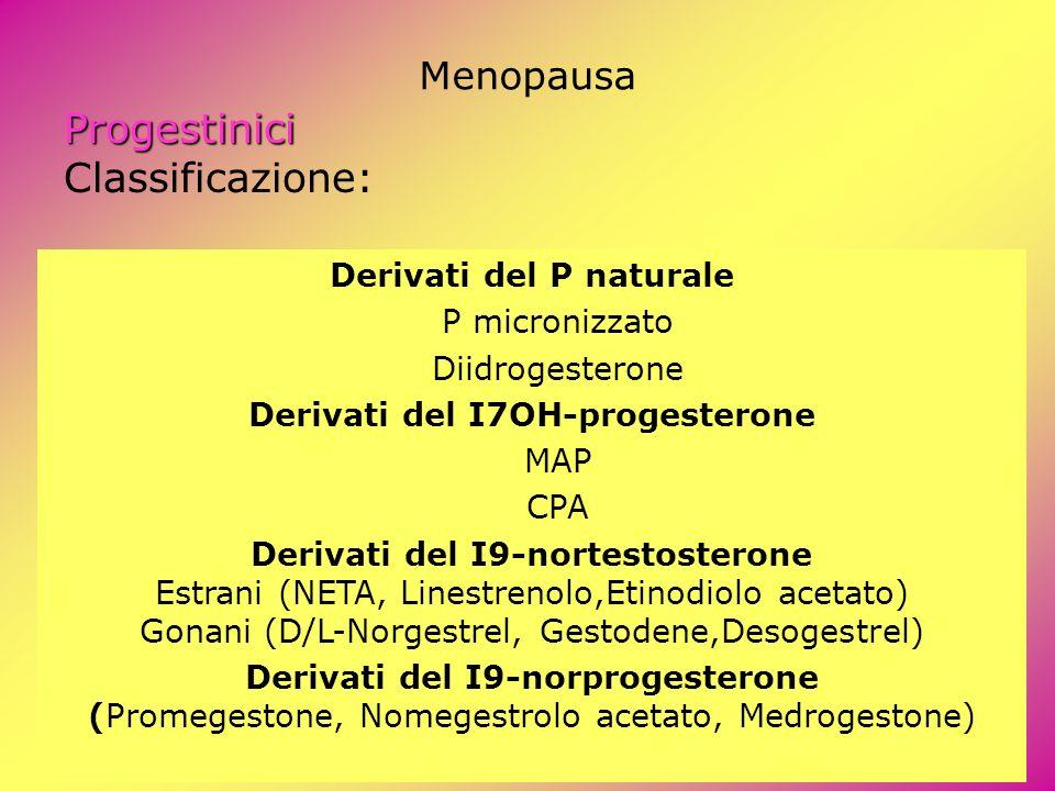 Derivati del P naturale Derivati del I7OH-progesterone