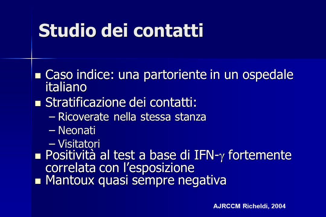 Studio dei contatti Caso indice: una partoriente in un ospedale italiano. Stratificazione dei contatti: