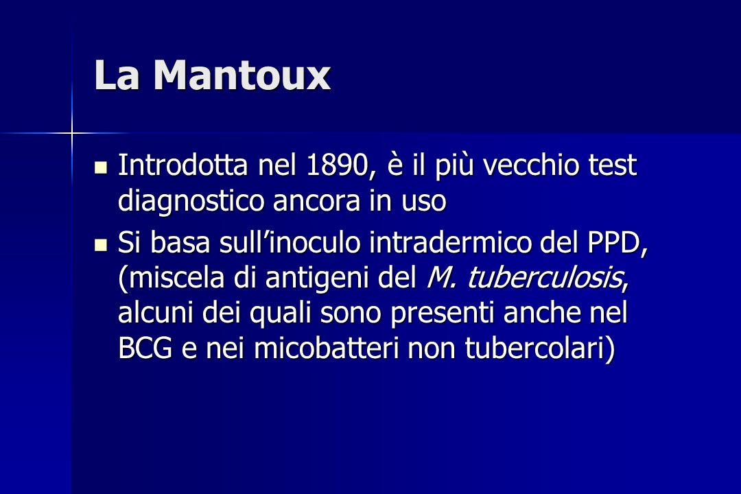 La Mantoux Introdotta nel 1890, è il più vecchio test diagnostico ancora in uso.