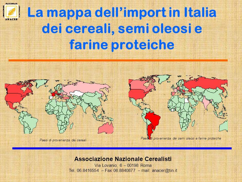 La mappa dell'import in Italia dei cereali, semi oleosi e farine proteiche