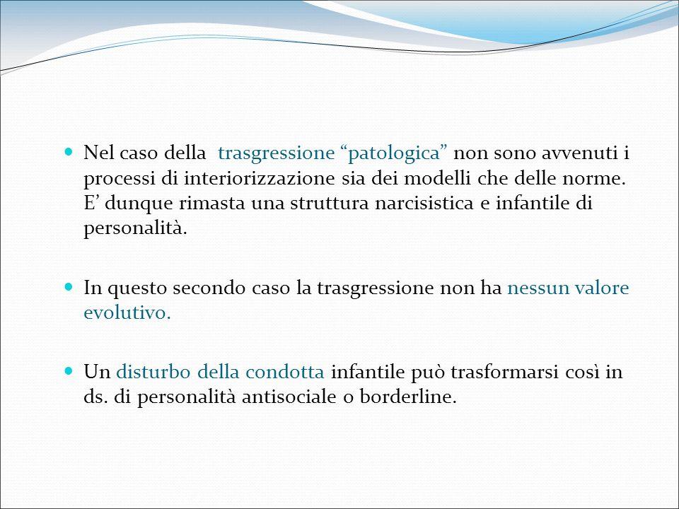 Nel caso della trasgressione patologica non sono avvenuti i processi di interiorizzazione sia dei modelli che delle norme. E' dunque rimasta una struttura narcisistica e infantile di personalità.