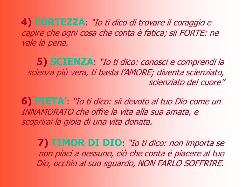 4) FORTEZZA: Io ti dico di trovare il coraggio e capire che ogni cosa che conta è fatica; sii FORTE: ne vale la pena.