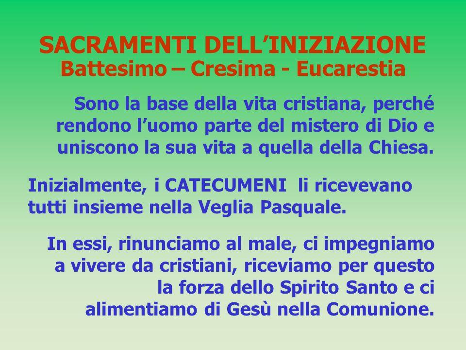 SACRAMENTI DELL'INIZIAZIONE Battesimo – Cresima - Eucarestia