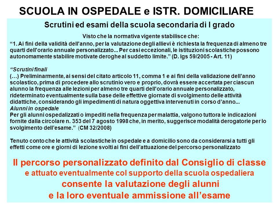 SCUOLA IN OSPEDALE e ISTR. DOMICILIARE