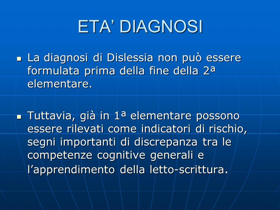 ETA' DIAGNOSI La diagnosi di Dislessia non può essere formulata prima della fine della 2ª elementare.