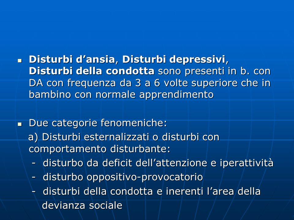 Disturbi d'ansia, Disturbi depressivi, Disturbi della condotta sono presenti in b. con DA con frequenza da 3 a 6 volte superiore che in bambino con normale apprendimento