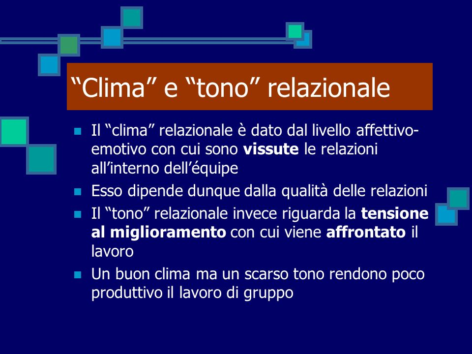 Clima e tono relazionale