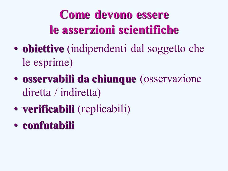 Come devono essere le asserzioni scientifiche