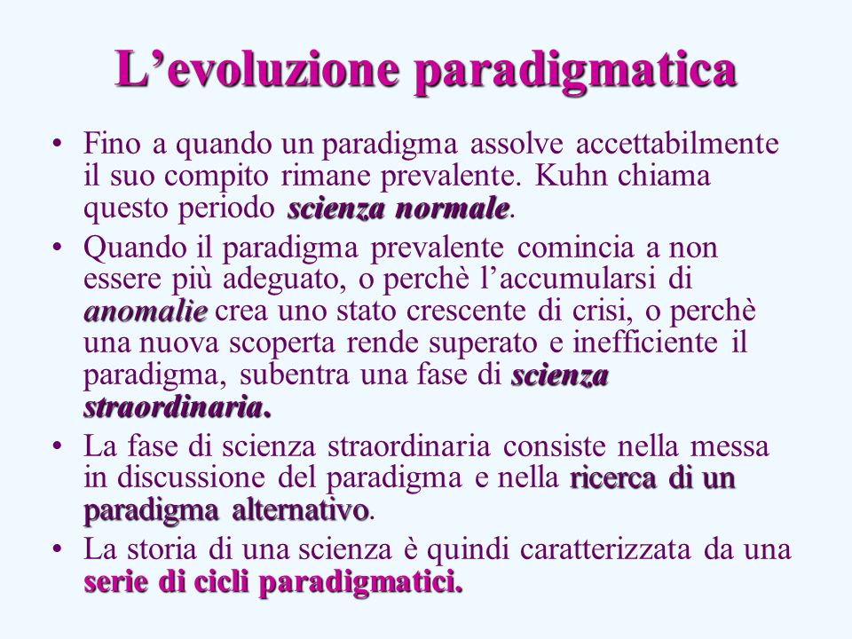 L'evoluzione paradigmatica