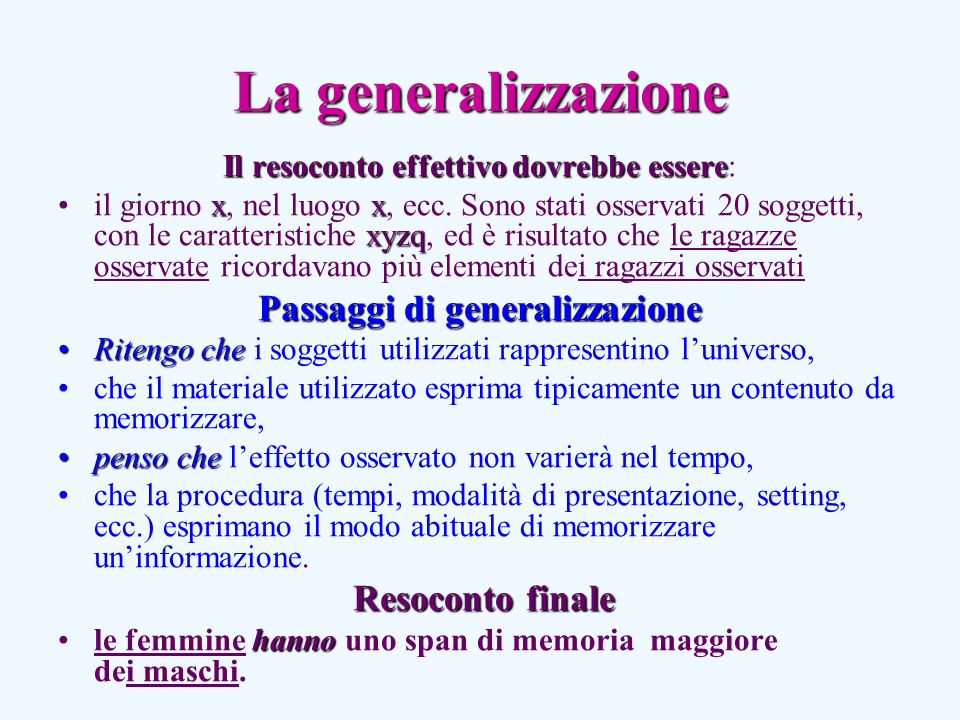 Passaggi di generalizzazione