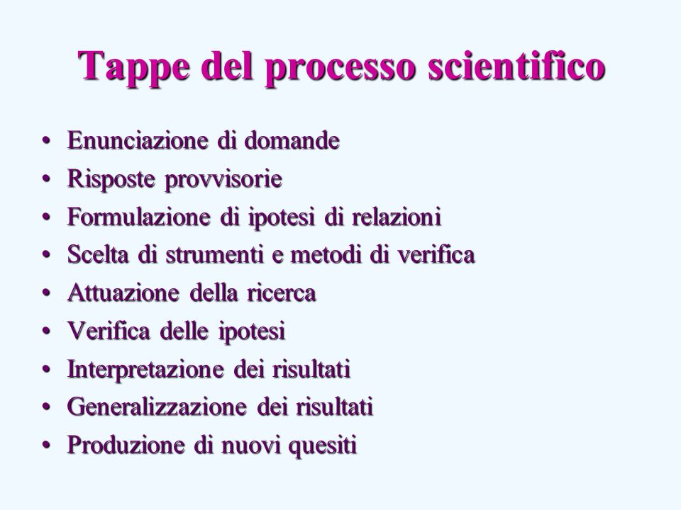 Tappe del processo scientifico