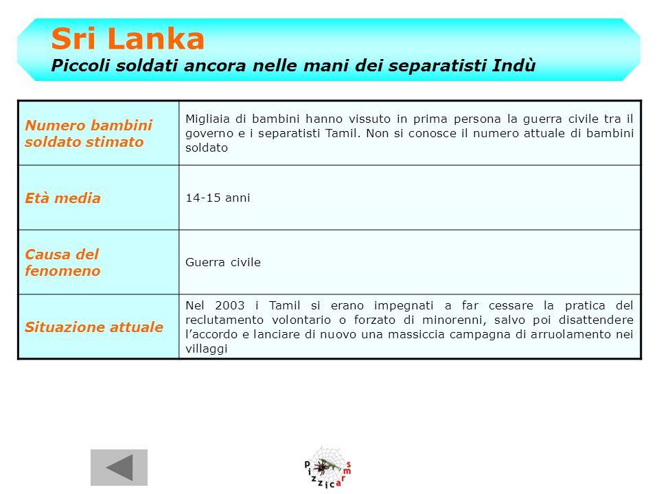 Sri Lanka Piccoli soldati ancora nelle mani dei separatisti Indù
