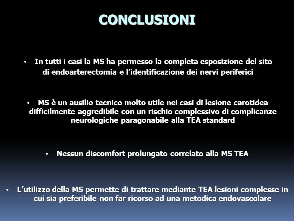 CONCLUSIONI In tutti i casi la MS ha permesso la completa esposizione del sito. di endoarterectomia e l'identificazione dei nervi periferici.