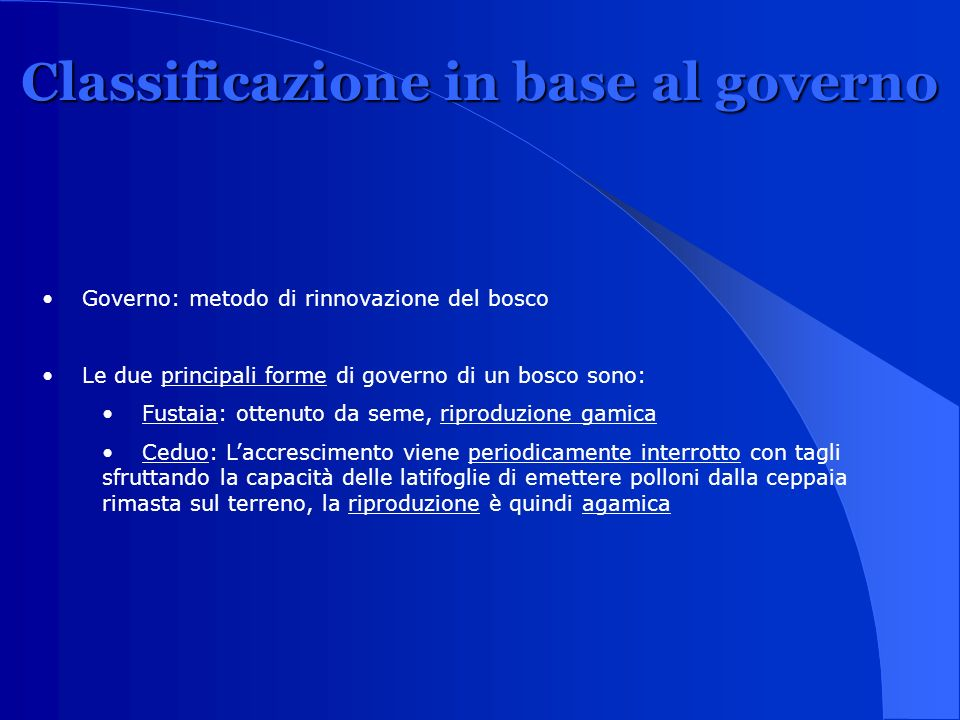 Classificazione in base al governo
