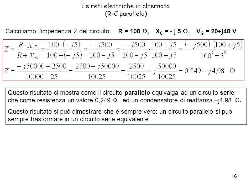 Le reti elettriche in alternata (R-C parallelo)