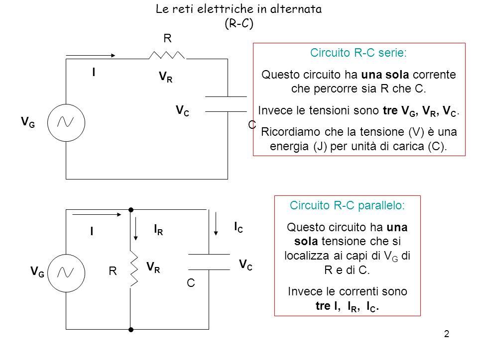 Le reti elettriche in alternata (R-C)