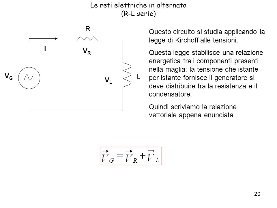 Le reti elettriche in alternata (R-L serie)