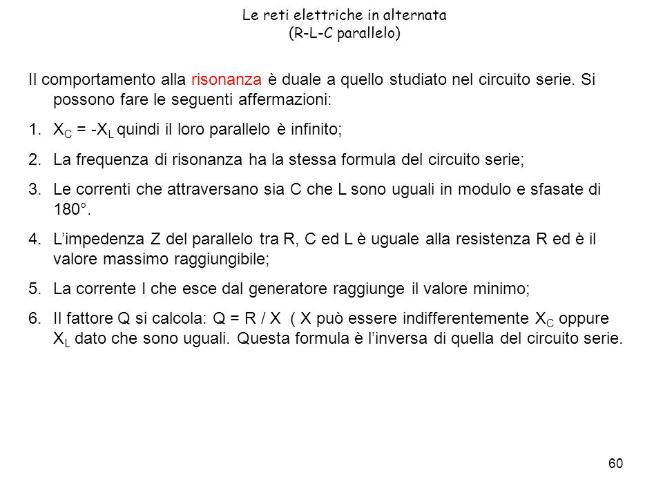 Le reti elettriche in alternata (R-L-C parallelo)