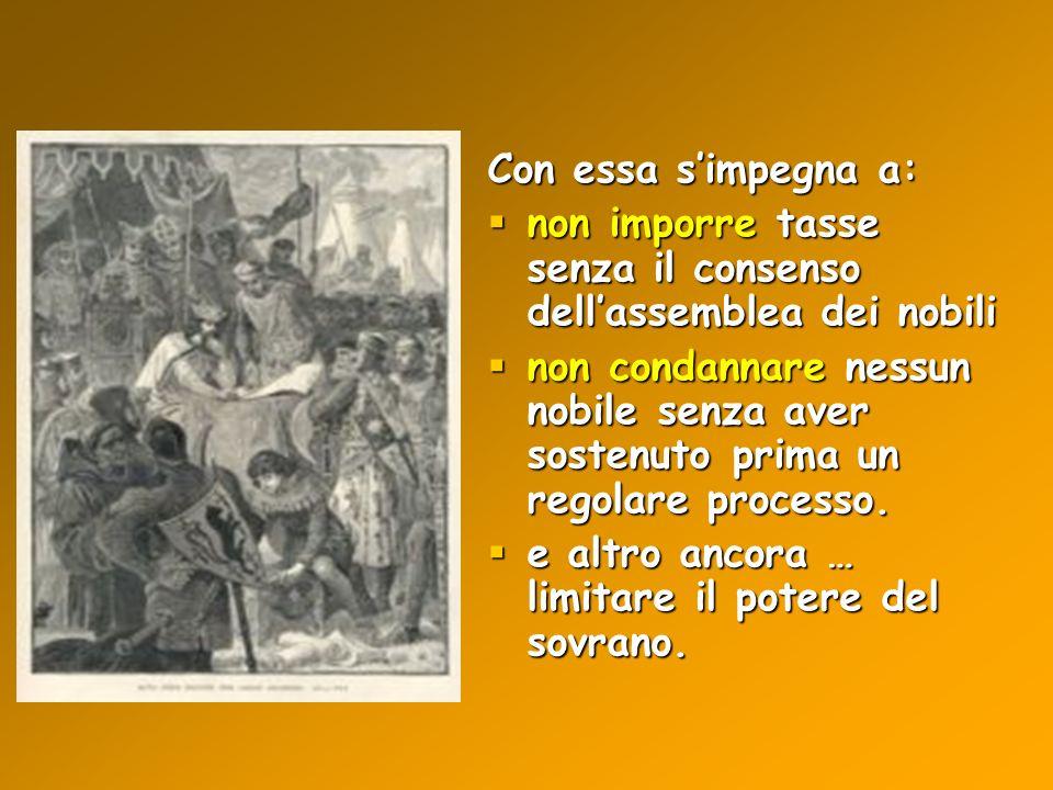 Con essa s'impegna a: non imporre tasse senza il consenso dell'assemblea dei nobili.