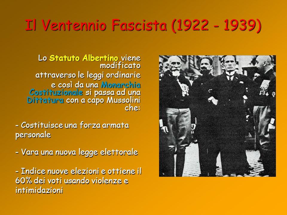 Il Ventennio Fascista (1922 - 1939)