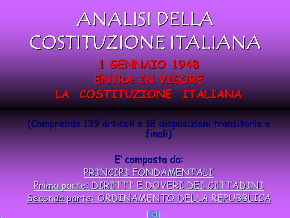 ANALISI DELLA COSTITUZIONE ITALIANA LA COSTITUZIONE ITALIANA
