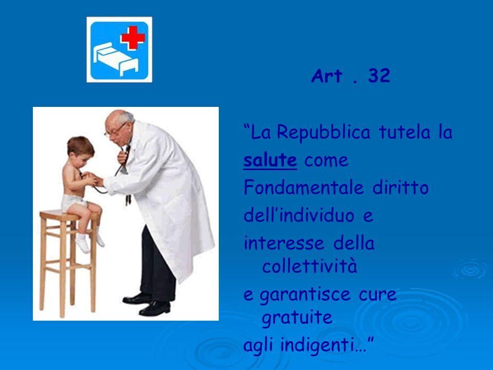 Art . 32 La Repubblica tutela la. salute come. Fondamentale diritto. dell'individuo e. interesse della collettività.