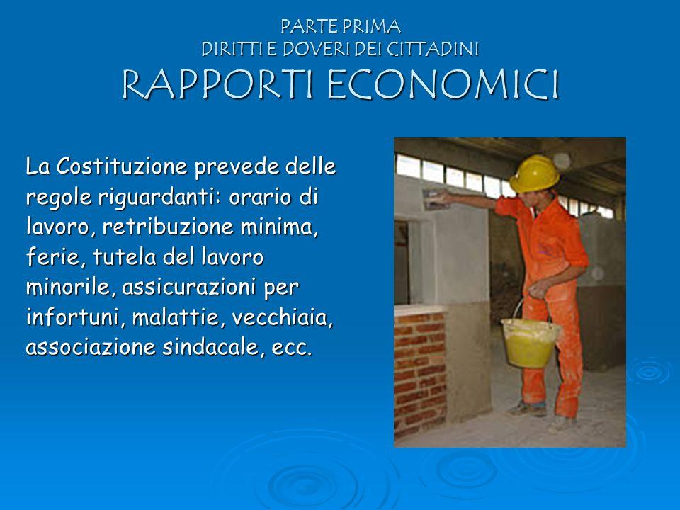 PARTE PRIMA DIRITTI E DOVERI DEI CITTADINI RAPPORTI ECONOMICI