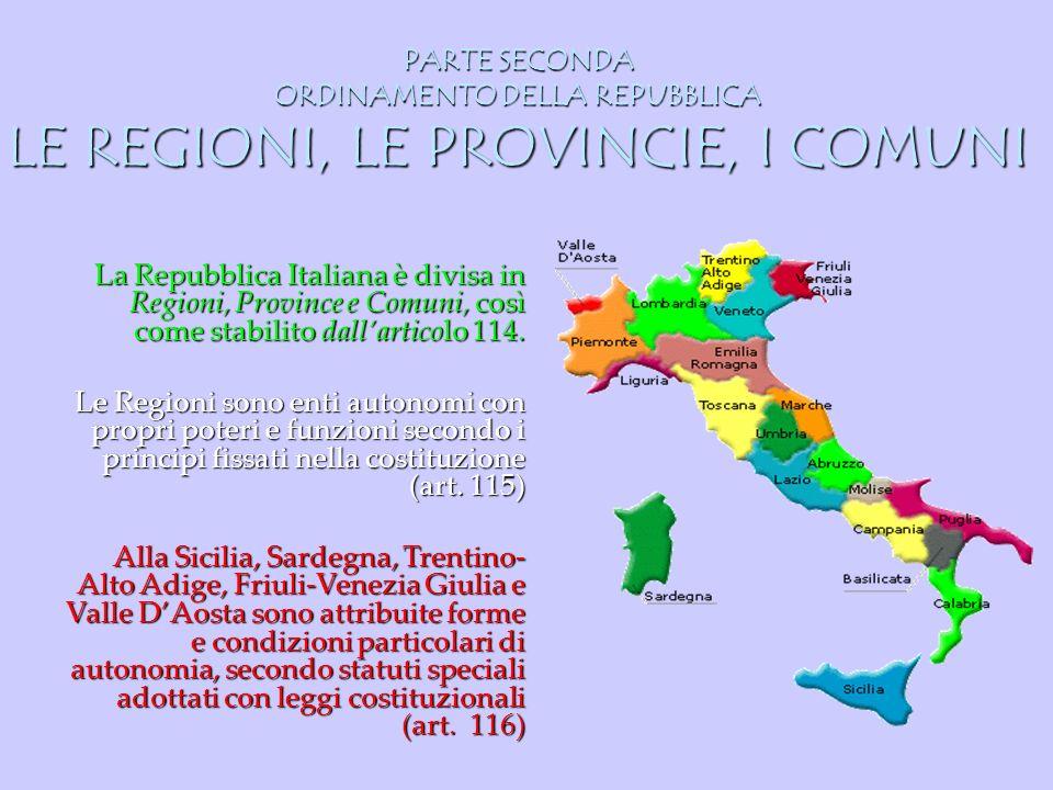 PARTE SECONDA ORDINAMENTO DELLA REPUBBLICA LE REGIONI, LE PROVINCIE, I COMUNI