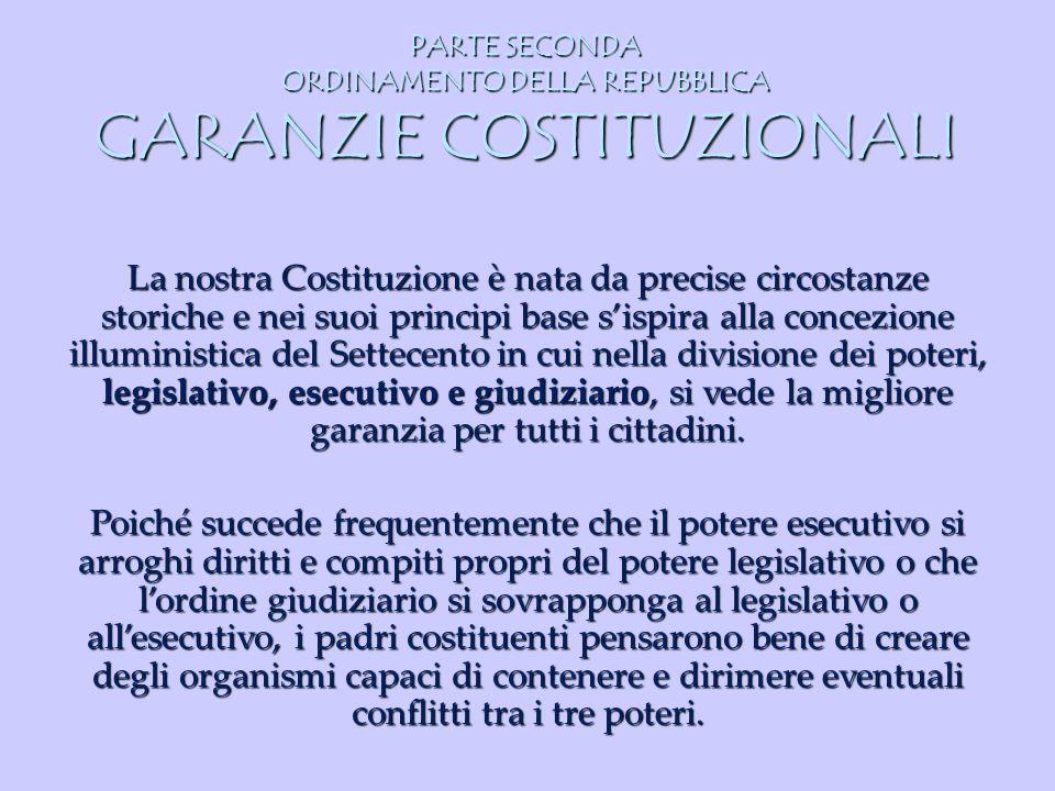 PARTE SECONDA ORDINAMENTO DELLA REPUBBLICA GARANZIE COSTITUZIONALI