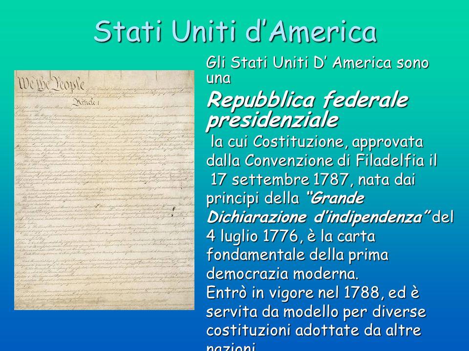 Stati Uniti d'America Repubblica federale presidenziale