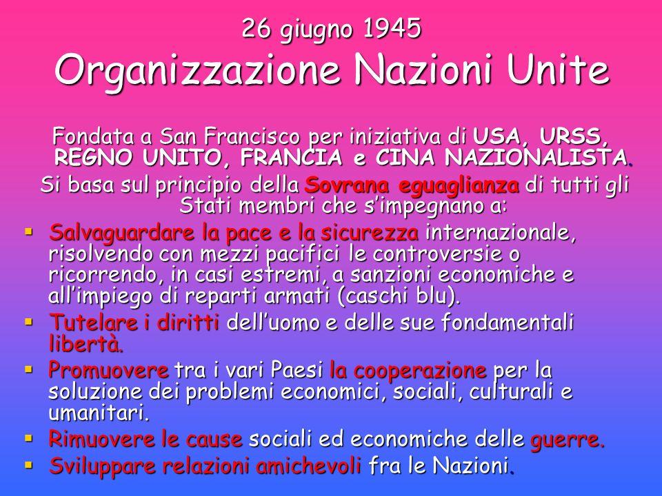 26 giugno 1945 Organizzazione Nazioni Unite