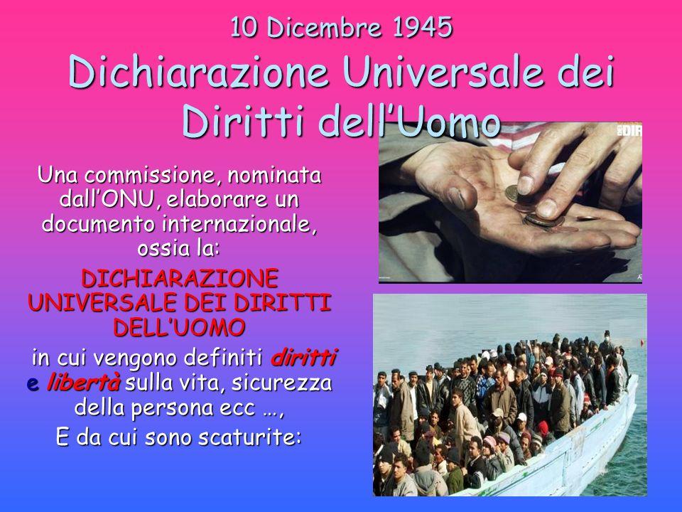 10 Dicembre 1945 Dichiarazione Universale dei Diritti dell'Uomo