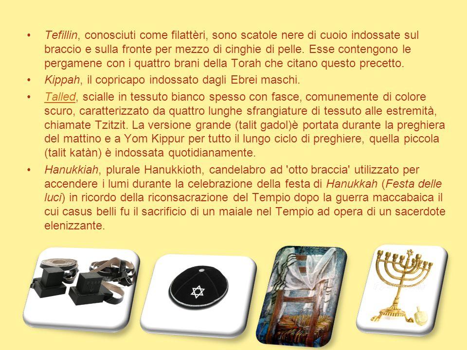 Tefillin, conosciuti come filattèri, sono scatole nere di cuoio indossate sul braccio e sulla fronte per mezzo di cinghie di pelle. Esse contengono le pergamene con i quattro brani della Torah che citano questo precetto.