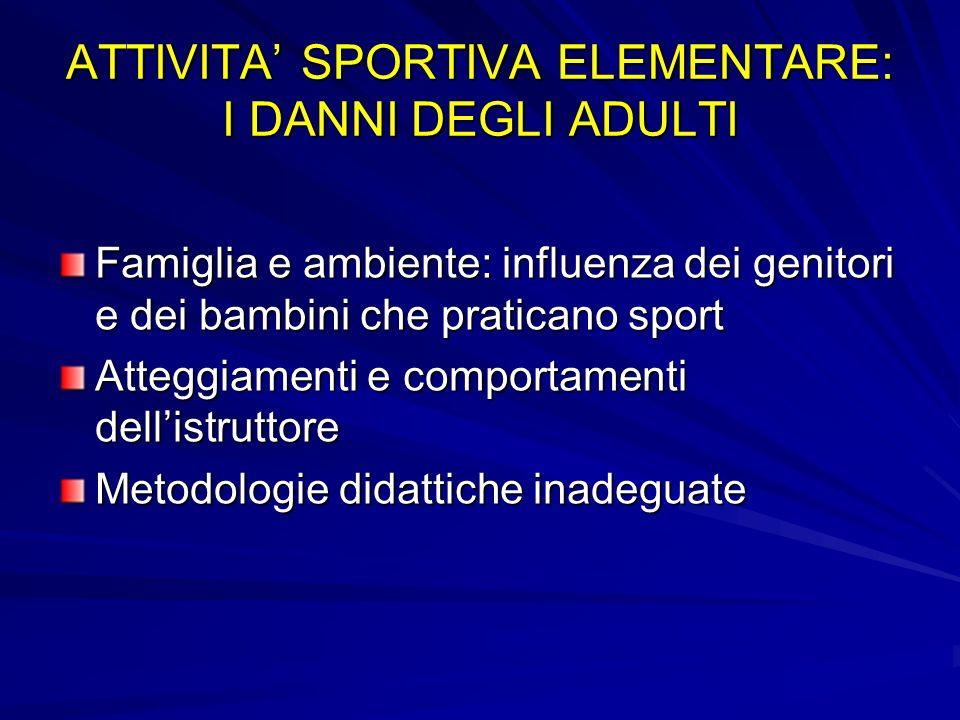 ATTIVITA' SPORTIVA ELEMENTARE: I DANNI DEGLI ADULTI