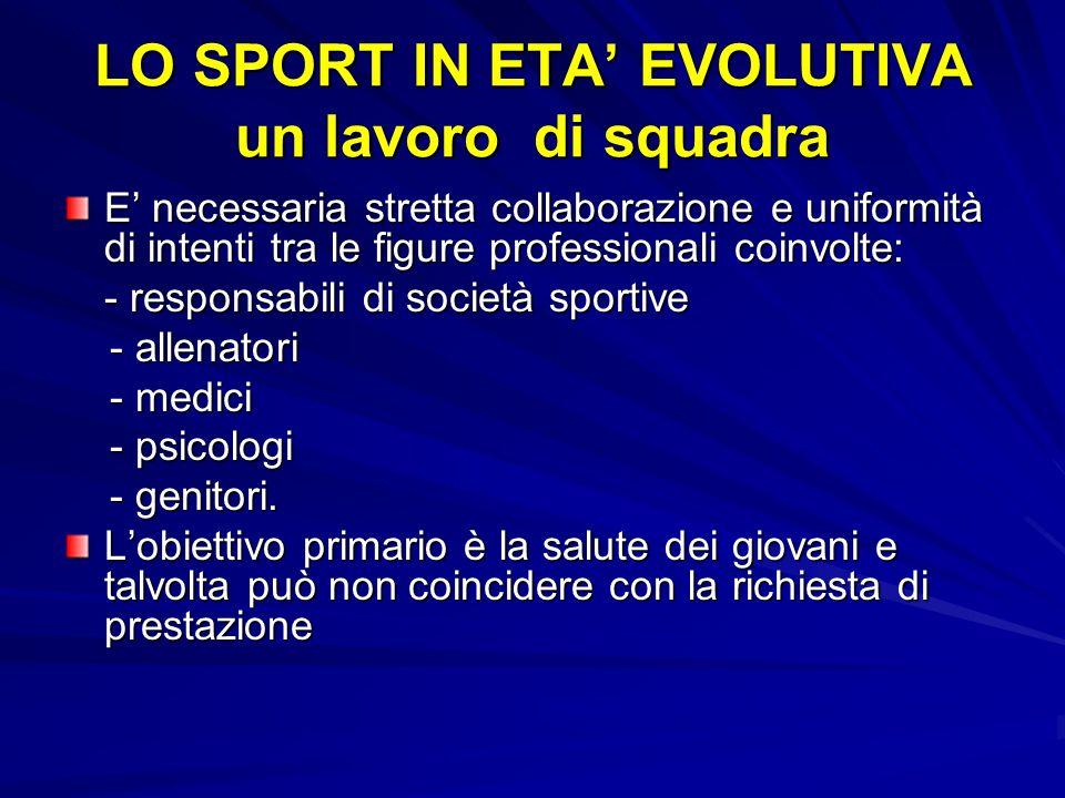 LO SPORT IN ETA' EVOLUTIVA un lavoro di squadra
