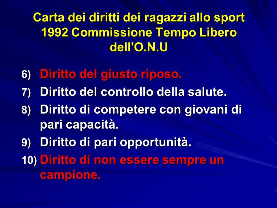 Carta dei diritti dei ragazzi allo sport 1992 Commissione Tempo Libero dell O.N.U