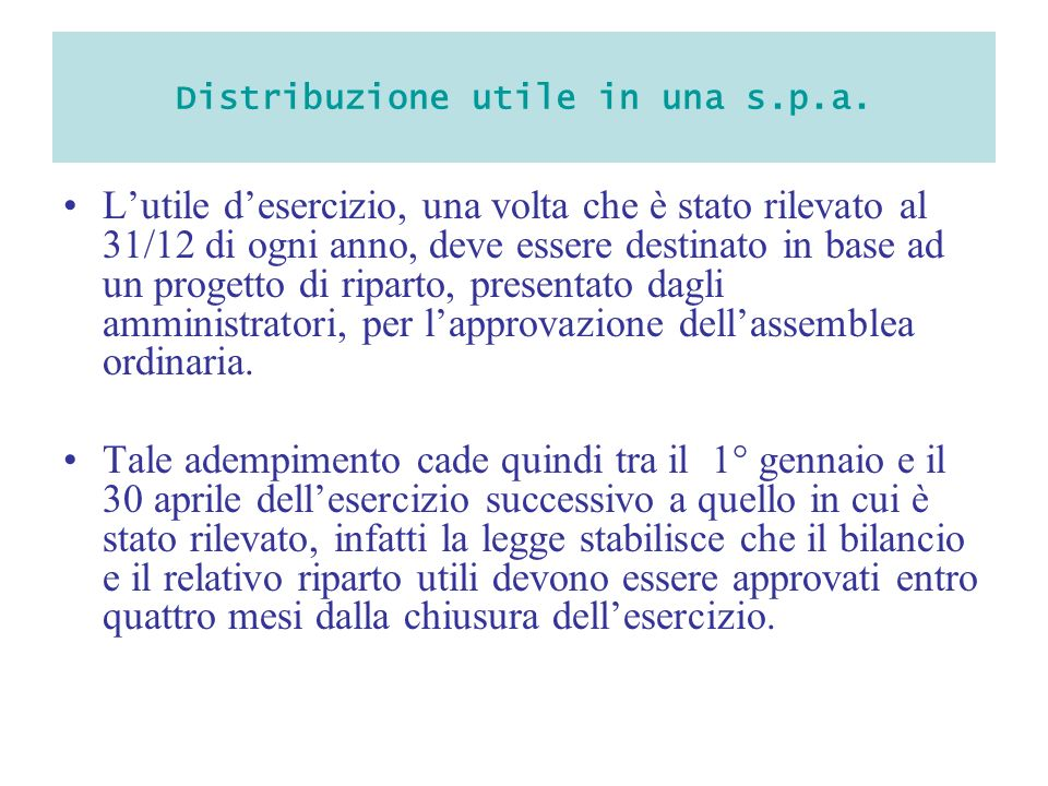 Distribuzione utile in una s.p.a.