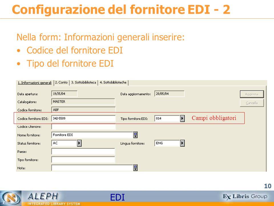 Configurazione del fornitore EDI - 2