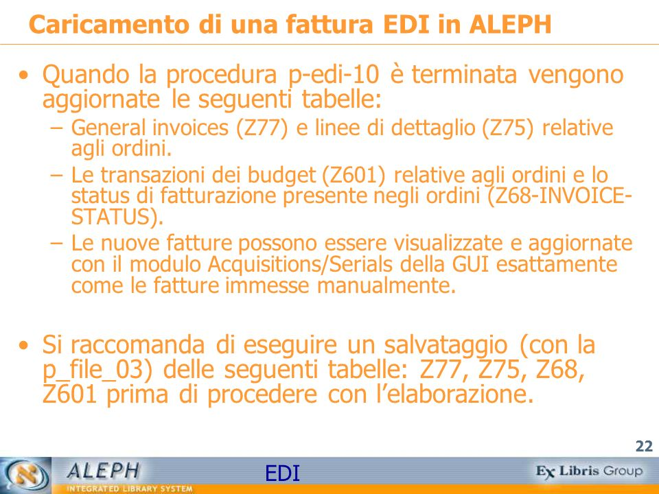 Caricamento di una fattura EDI in ALEPH