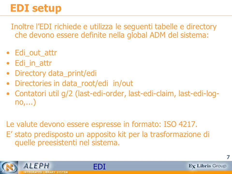 EDI setup Inoltre l'EDI richiede e utilizza le seguenti tabelle e directory che devono essere definite nella global ADM del sistema: