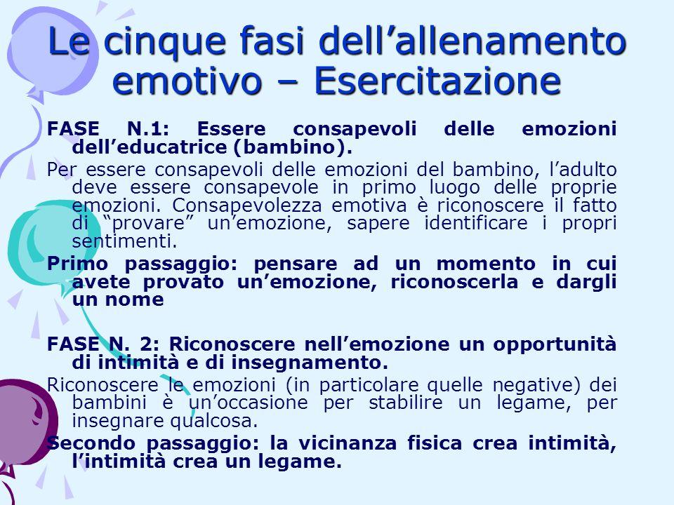 Le cinque fasi dell'allenamento emotivo – Esercitazione